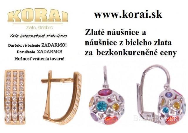 295597533 Zlaté náušnice a náušnice z bieleho zlata KORAI - bazos, bazar